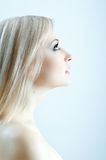 Beauty blonde in cold colours Stock Image