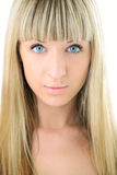 Beauty blonde girl closeup face Stock Images