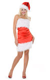 Beauty blonde girl in santa hat Stock Photo