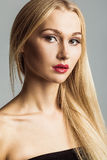 Beauty Blonde Hair Model. Close Up Face Portrait. Young Perfect Skin. Studio Photoshoot stock image