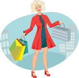Beauty blonde in red coat with bags. Shopping in city. Beauty girl in red coat with bags. Shopping in city stock illustration