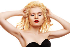 Beauty. Blonde with red lips & healthy shiny hair Royalty Free Stock Image