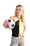 Beauty blonde with soccer ball Stock Photography