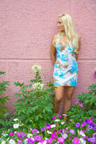 Beauty blonde stay near flower lawn Royalty Free Stock Photography