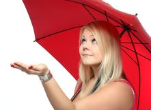 Beauty blonde with umbrella. Stock Photos