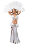 Beauty blonde in white belly dancer costume . Royalty Free Stock Images