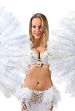 Beauty blonde in white belly dancer costume . Stock Photography