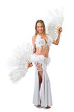 Beauty blonde in white belly dancer costume . Stock Photo