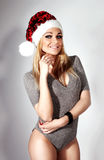 Beauty blonde woman as Santa Claus Royalty Free Stock Image