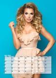 Beauty blonde woman, Calendar stock image