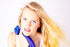 Beauty blonde woman face Stock Images