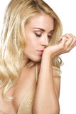 Beauty blonde woman smell his perfume on white Stock Photo