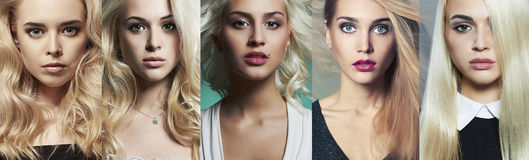 Beauty blondes collage. Different beautiful girls Stock Photos