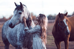 Beauty blondie with horse in the field,  effect Stock Photo