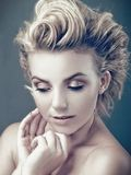 Beauty blondie. Retro styled female portrait Royalty Free Stock Photos