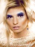 Beauty blong woman ith make up, winter tinsel Stock Photography