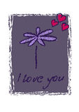 Beauty blue card with flowers for valentines day Stock Photography