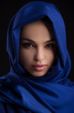 Beauty in blue cloth. Royalty Free Stock Images
