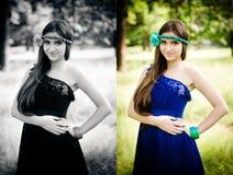 Beauty in blue dress Stock Image