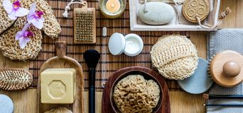 Beauty and body care concept of traditional and zen objects stock photo