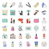 Beauty, body cares products and cosmetics icon set. Thin line Stock Photos