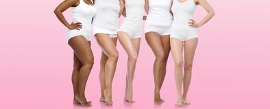 Group of happy diverse women in white underwear Royalty Free Stock Photography