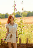 Beauty boho redhead woman enjoying nature, relax Stock Photos