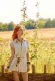 Beauty boho redhead woman enjoying nature, relax Stock Photos