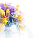 Beauty border frame - art colorful flowers Stock Images