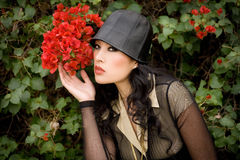 Beauty and bougainvillea stock photography