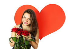Beauty with a bouquet of roses Royalty Free Stock Image