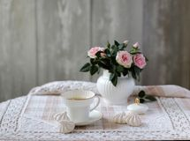 Beauty bouquet of roses in white porcelain sugar bowl, china tea cup, vintage style, floral scene royalty free stock photography