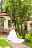 Beauty bride in bridal gown with bouquet and lace veil on the nature. Beautiful model girl in a white wedding dress Royalty Free Stock Photography