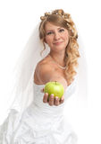 Beauty bride with green apple Royalty Free Stock Image
