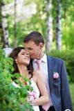 Beauty bride and groom on wedding walk Stock Image