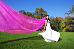 Beauty bride with a long purple veil Stock Image