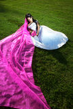Beauty bride with a long purple veil Royalty Free Stock Image