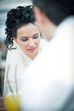 Beauty bride talking with groom Royalty Free Stock Photography