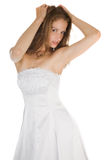 Beauty bride in white dress Stock Image