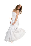 Beauty bride in white dress over white royalty free stock photos