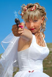 Beauty Bride With Gun Stock Photo