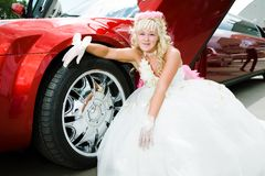 Beauty bride woman with limousine Stock Photo