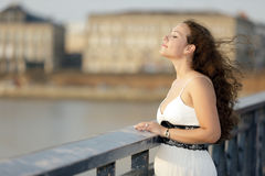 Beauty on the bridge Stock Image