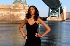 Beauty by the bridge 2. Beautiful model posing by ben franklin bridge in philadelphia stock images