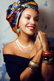 Beauty bright african woman with creative make up Royalty Free Stock Image