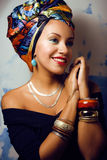 Beauty bright african woman with creative make up Stock Photography