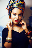 Beauty bright african woman with creative make up, shawl on head Royalty Free Stock Photos