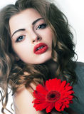 Beauty bright girl with festive flower royalty free stock images