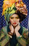 Beauty bright woman with creative make up, many Stock Photo