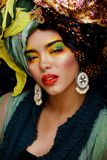 Beauty bright woman with creative make up, many Royalty Free Stock Images